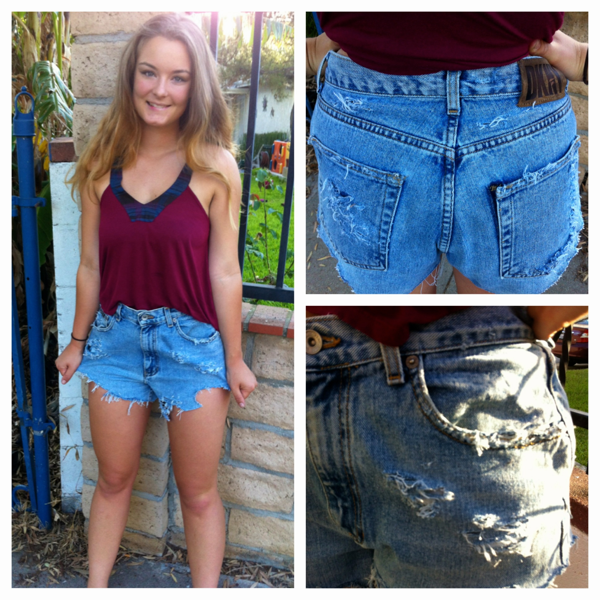 DIY High Waisted Cutout Shorts